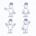 Vector set of hand drawn cartoon characters Stock Images