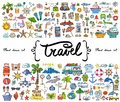 Vector set with hand drawn colored doodles on the theme of travel, tourism. Sketches for use in design Royalty Free Stock Photo