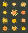Set of hand drawn vector cute sun icons for summer design