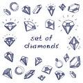 Vector set of hand-drawn diamond icons