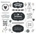 Vector set of hand drawn doodle frames, badges. Handmade, workshop, hand made shop graphic design set. Royalty Free Stock Photo