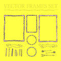 Vector set of hand drawn floral squared and rounded frames a Royalty Free Stock Photo