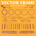 Vector set of hand drawn floral squared and rounded frames and decorative elements and ornaments. Royalty Free Stock Photo
