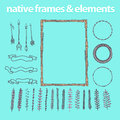 Vector set of hand drawn frames Royalty Free Stock Photo