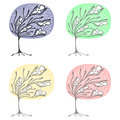 Vector set of hand drawn illustrations, decorative ornamental stylized tree. Graphic illustrations isolated on the white backgroun