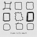 Vector set hand drawn rectangle, felt-tip pen objects. Text box and frames, Illustration EPS10