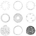 Vector set of 9 hand drawn scribble circles. Logo design elements