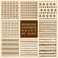 Vector set of hand drawn seamless pattern made with ink. Freehand textures for fabric, polygraphy, web design