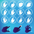 Vector set of hand icons touchscreen interface illustration Stock Images