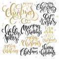 Vector set of hand lettering christmas quotes - merry christmas, holly jolly and others, written in various styles Royalty Free Stock Photo
