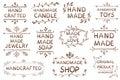 VECTOR set of handdrawn `HAND MADE` brown tag templates