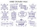 VECTOR set of handdrawn `HAND MADE` tag templates
