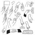 Vector set hands gestures sketch style.