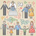 Vector set with happy families grandmother grandfather father mother and children it can be used for decoration of web page Stock Photo