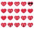 Vector set of different heart emoji