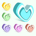 Vector set of hearts colorful Stock Image