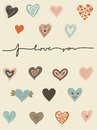 Vector set of hearts and I love you text Royalty Free Stock Photo