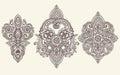 Vector set of henna floral elements