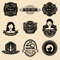 Vector set of hipster woman logo of beauty salon or vintage shop. Retro icons collection in flat style.