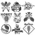 Vector set of honey and beekeeping labels, badges, logo, icons, design elements