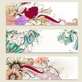 Vector set of horizontal business banners with flowers vintage floral for design Royalty Free Stock Images