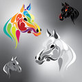 Vector set of horses in different colors Royalty Free Stock Photo
