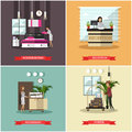 Vector set of hotel posters in flat style