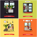 Vector set of hotel square posters in flat style
