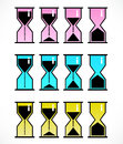 Vector set with hourglasses isolated Royalty Free Stock Photos