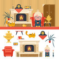 Vector set of house living room interior objects in flat style. Grandma sitting in chair next to fireplace.