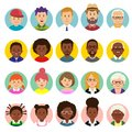 Set of human faces, avatars, people heads different nationality and ages in flat style