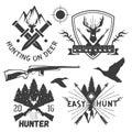 Vector set of hunting club labels in vintage style. Design elements, emblems, badges, hunt logo