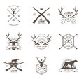 Vector set of hunting labels