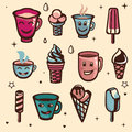 Vector set with ice cream and cups Royalty Free Stock Photography