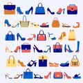 Set icons of fashion bags and shoes Royalty Free Stock Photo