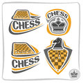 Vector set icons for Chess game Royalty Free Stock Photo