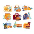 Vector set of icons with lunch boxes and bags with food and drinks. Hamburgers, sandwiches, cookies, juice, coffee Royalty Free Stock Photo