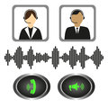 Vector set of icons telephone operators, call buttons and sound indicator. Royalty Free Stock Photo