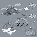 Vector set with illustration mountain peaks end graphic elements the mountains are calling and i must go Royalty Free Stock Photography