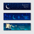 Vector set of islamic headers for muslim holy month ramadan kareem garlands with mosques moon stars and lights Stock Image
