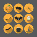 Vector set of isolated Halloween icons on the yellow background with shadow. Royalty Free Stock Photo