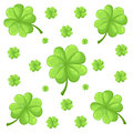 Vector set isolated on white background clover leaves. Silhouettes of four and three leaf clover. Lucky leaf clover in flat style.