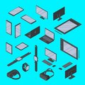 Vector set of isometric gadgets technology isolated. Smart watch, graphic tablet, smartphone, VR glasses and other