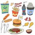 Vector set junk food meal
