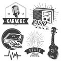 Vector set of karaoke and music labels in vintage style. Guitar, microphone, gramophone, radio receiver isolated on Royalty Free Stock Photo