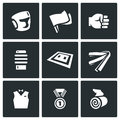 Vector Set of Karate Icons. Helmet, Flags, Fist, Makiwara, Tatami, Belt, Judge, Medal, Bandage. Royalty Free Stock Photo
