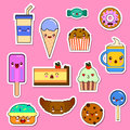 Vector set of Kawaii food characters. sweets and candies emoticon stickers