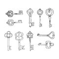 Vector Set of Keys Icons. Modern and Antique Keys. Types of Keys Royalty Free Stock Photo