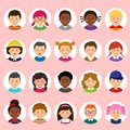 Set of kids faces, avatars, children heads different nationality in flat style