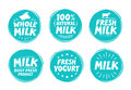 Vector set labels for milk, yogurt. Collection icons